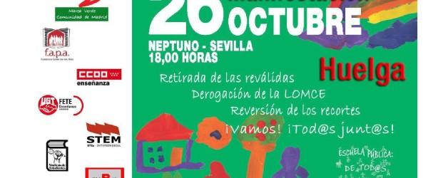 HUELGA GENERAL EDUCATIVA Y MANIFESTACIÓN EL 26 OCTUBRE